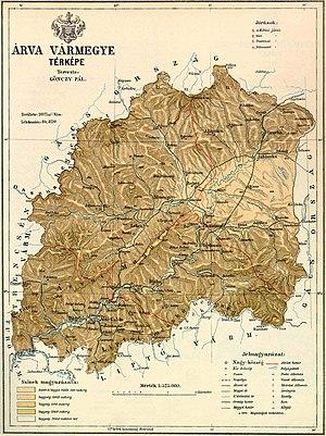 Árva County - 19th century map of Árva county