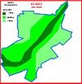 Łobez - plan miasta z zaznaczoną kolorami wysokością w metrach nad poziomem morza.JPG