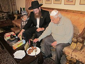 J. F. R. Jacob - General Jacob lighting Hanukkah candles, together with Rabbi Schneur Kuptz'ik, Chabad-Lubavitch emissary in Delhi, (December 2012)