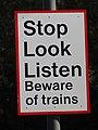 -2018-10-09 Warning sign, Antingham Hill Level Crossing, Antingham, Norfolk.JPG