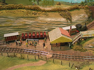 4 mm scale - Gryndene Halt, a station on Evaleight Light Railway, by the Sussex Downs 009 group.