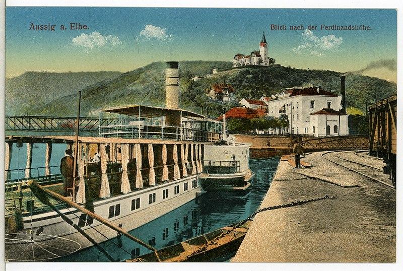 File:12212-Aussig-1910-Blick nach der Ferdinandshöhe - Elbe mit Dampfer-Brück & Sohn Kunstverlag.jpg