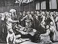 154 Life of Christ Phillip Medhurst Collection 4267 Christ heals uncovering the roof Mark 2.4 Mirian.jpg