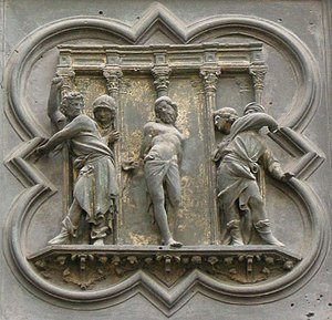Lorenzo Ghiberti - In Flagellation, one of the panels on the North Doors.