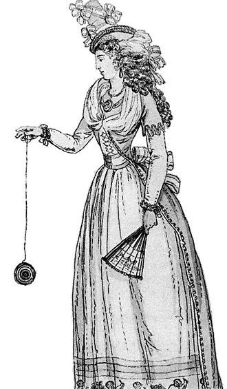"""Yo-yo - A 1791 illustration of a woman playing with an early version of the yo-yo, then known as a """"bandalore"""""""