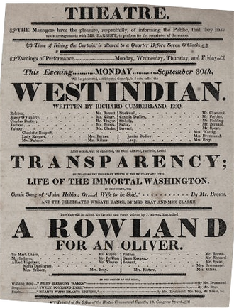 The West Indian - Image: 1822 West Indian Theatre Boston