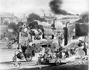 History of steam road vehicles - 1831 satire on steam coaches