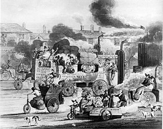 Effects of the car on societies - 1831 cartoon, warning about road troubles of the future.