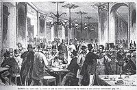 1871-11-05, La Ilustración Española y Americana, El Café Suizo la noche en que se supo la adjudicación de premios á los artistas expositores.jpg
