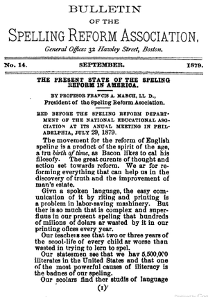 Spelling reform - Image: 1879 Spelling Reform Bulletin Boston