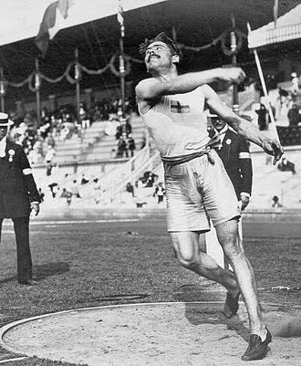 Athletics at the 1912 Summer Olympics – Men's two handed discus throw - Magnusson on the way to win the bronze medal.