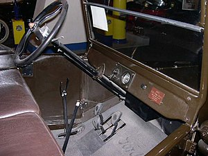 Car controls - In the Ford Model T, the pedals control the two forward gears (left pedal), reverse (center pedal), and the brake (right pedal). The steering-column levers control ignition timing (left) and the throttle (right). The large hand-levers set the rear-wheel parking brake and put the transmission in neutral (left) and control an after-market 2-speed transmission adapter (right).