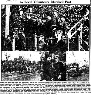 Cornell Franklin - Cornell Franklin Civil Commandant of the Shanghai Volunteer Corps takes the salute in the 1938 Annual Parade