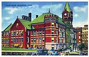 1941 Postcard showing Fairfield County Courthouse in Bridgeport, Connecticut