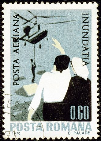 1970 floods in Romania - 1970 airmail stamp