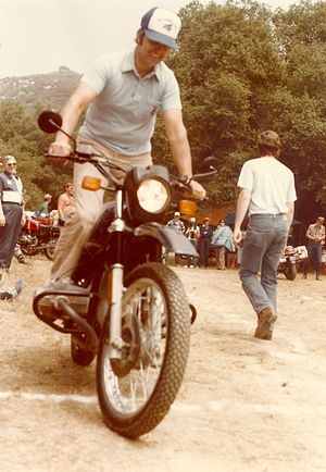 Reg Pridmore - Pridmore riding a 1982 R80G/S in the Slow Race at the 1982 South Coast BMW Riders Club Fiesta Rally