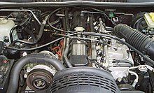 High Quality Engine Bay Of A 1993 Jeep Grand Cherokee With 4.0 L