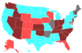 1994 United States House of Representatives Election by Change in the Majority Political Affiliation of Each State's Delegations From the Previous Election.png