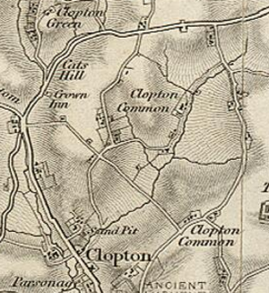 Clopton, Suffolk - Historical map showing Clopton and surrounding areas.