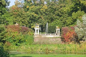 Peter Joseph Lenné - The Glienicke Hunting Lodge Park with views to the Lion Fountain at Glienicke Palace