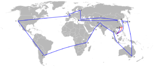 2008 Summer Olympics torch relay route - 2008 Olympic Torch Relay. The cancelled Taiwan route is shown in red.