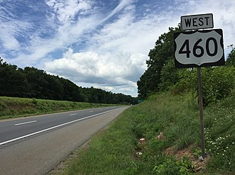 U.S. Route 460 in Virginia - View west along US 460 in Timberlake, Campbell County