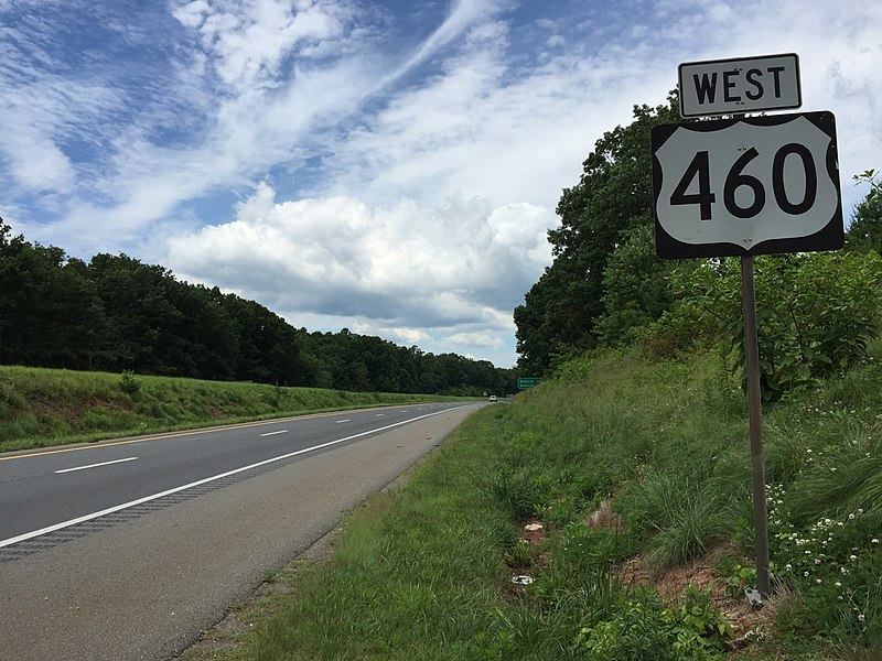 File:2017-06-25 12 49 20 View west along U.S. Route 460 just west of Leesville Road (Virginia State Secondary Route 682) in Timberlake, Campbell County, Virginia.jpg