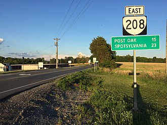 Virginia State Route 208 - View east along SR 208 in northern Louisa County