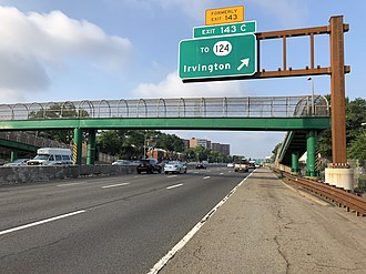 Irvington, New Jersey - View south along the Garden State Parkway in Irvington