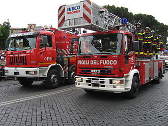 Astra (company) - Italian Fire Service vehicles with an Astra fire truck, on left