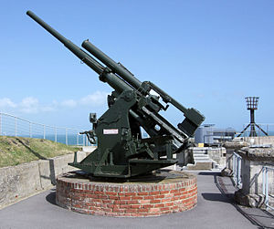 29th (East Anglian) Anti-Aircraft Brigade - 3.7-inch gun preserved at Nothe Fort, Weymouth