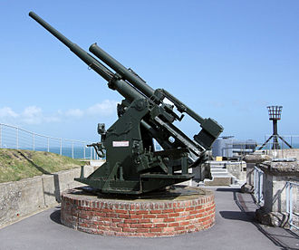 8th Anti-Aircraft Division (United Kingdom) - 3.7-inch HAA gun preserved at Nothe Fort overlooking Portland Harbour