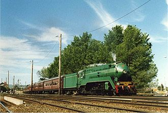 3801 Limited - 3801 hauls the Bicentennial Train through Wodonga, Victoria in October 1988