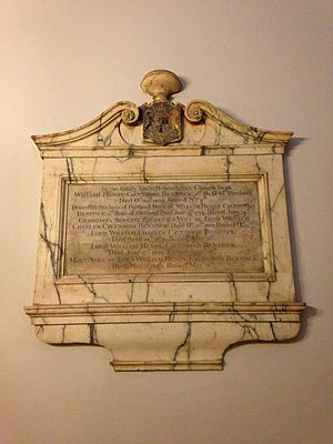 Lord William Bentinck - Memorial at the Bentinck family vault in St Marylebone Parish Church, London