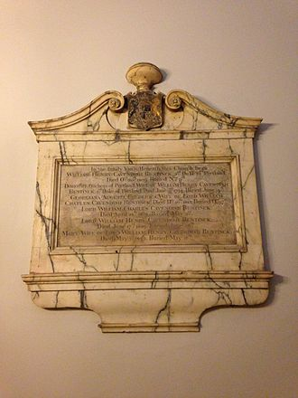 William Cavendish-Bentinck, 3rd Duke of Portland - Memorial to the 3rd Duke of Portland at the family vault in St Marylebone Parish Church