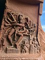 6th century 18-arm Nataraja 9x9 Natya postures in Cave 1, with Nandi, Ganesha and a musician, Badami Hindu cave temple Karnataka 2.jpg