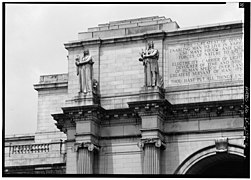 8. DETAIL, WEST END OF MAIN ENTRANCE PAVILION, SHOWING STATUARY AND INSCRIPTION - Union Station030017pv