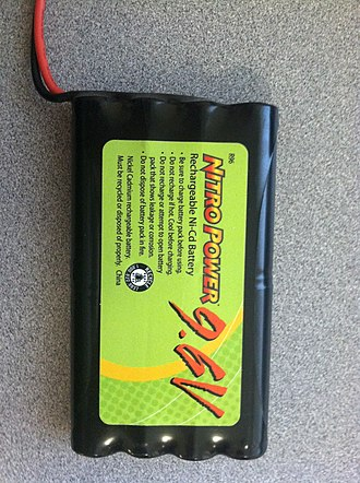 Nickel–cadmium battery - Eight NiCd batteries in a battery pack