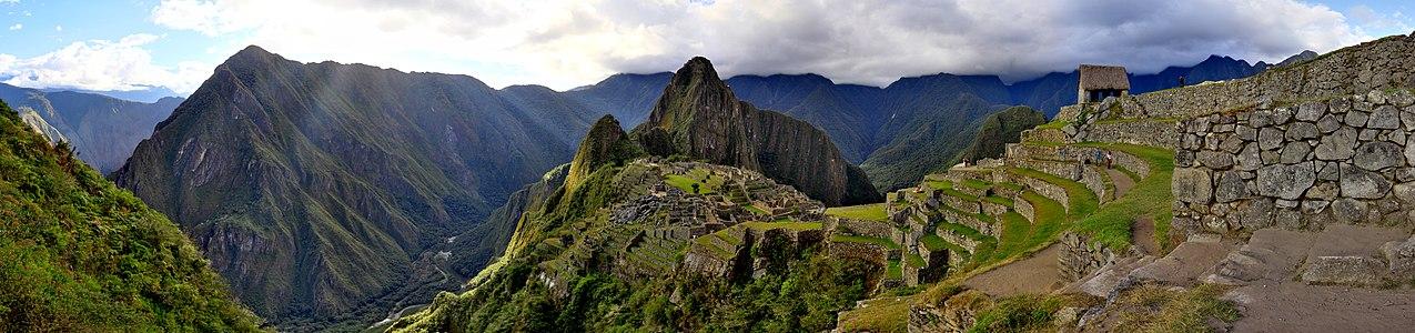 Machu Picchu's sunset panorama.