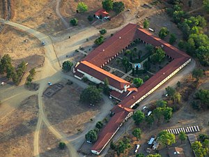 Mission San Antonio de Padua - Evening aerial view