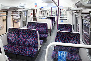 The refurbished interior of an A60 Stock train in 2010