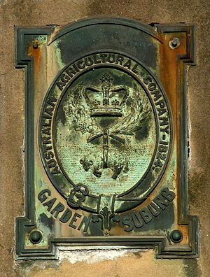 Australian Agricultural Company - Australian Agricultural Company plaque on a stone column at Learmonth Park, Hamilton, dated 1914.