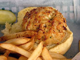 Cuisine of the Mid-Atlantic states - Crab cake served on a bun