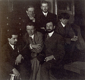 Jo Davidson - Young American Artists of the Modern School, L. to R. Jo Davidson, Edward Steichen, Arthur B. Carles, John Marin; back: Marsden Hartley, Laurence Fellows, c. 1911, Bates College Museum of Art