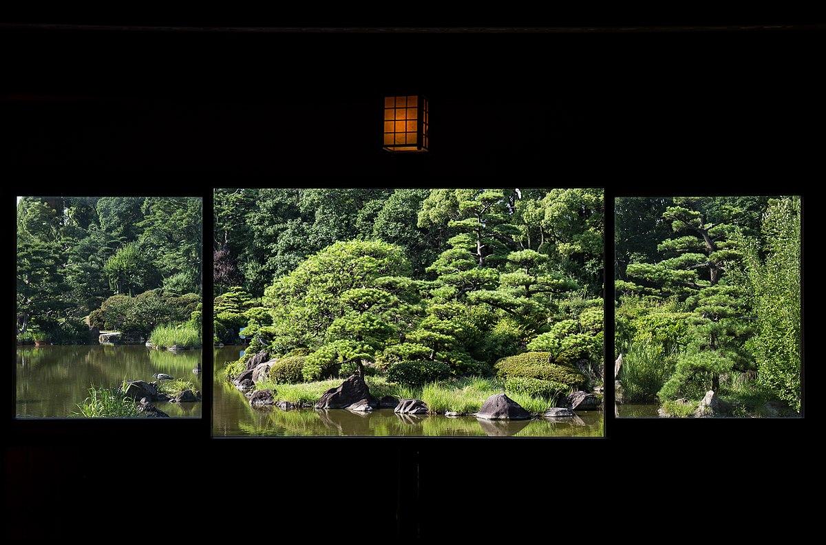 A Japanese garden scene from a chickee in Keitaku-en.jpg