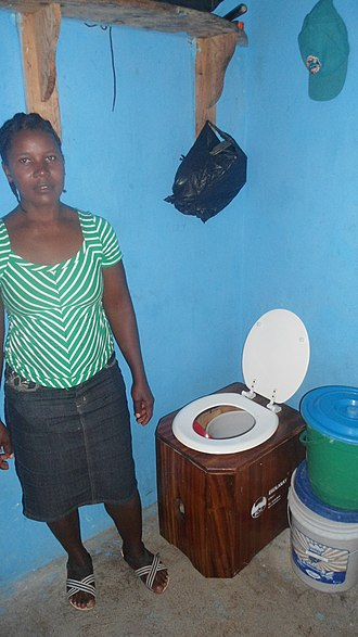 "Container-based sanitation - Example of a toilet used in a container-based sanitation system (urine-diverting dry toilet as marketed by the NGO SOIL in Haiti under the name of ""EkoLakay"")"