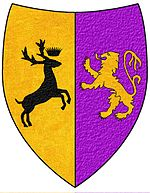 A coat of arms showing a gold on purple lion and a black on gold crowned stag combatant.