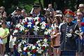 A U.S. Soldier, center, assigned to the 3rd U.S. Infantry Regiment (The Old Guard), holds a wreath during a ceremony at the Tomb of the Unknowns at Arlington National Cemetery in Arlington, Va., June 14, 2013 130614-A-AO884-074.jpg