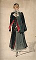 A district nurse with her outdoor uniform and bag. Watercolo Wellcome V0015193.jpg