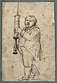 A doctor carrying a giant syringe. Pen drawing. Wellcome V0010938.jpg